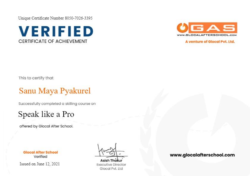 Certificate for User Sanu Maya Pyakurel